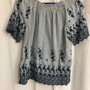 L Fever Scoop Neck Peasant Blouse
